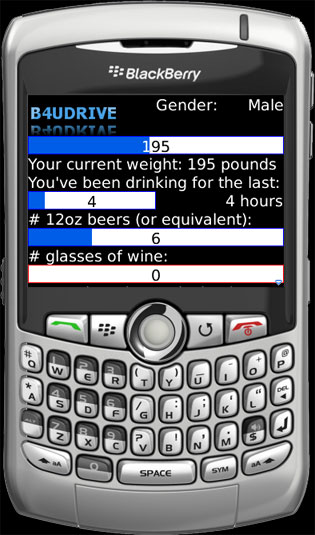 Screen Shot of B4UDRIVE BlackBerry Application